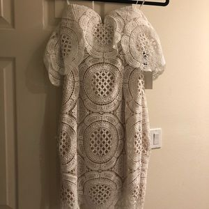 Off the shoulder white lace dress never worn!